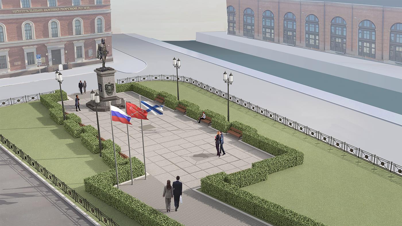 Площадь с памятником Ф.Ф. Ушакову